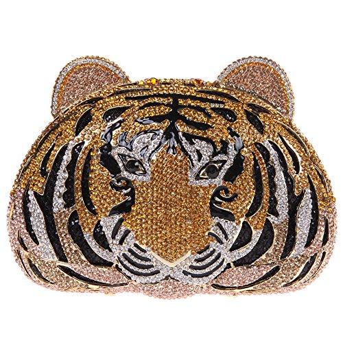 Clutch Tiger (Fawziya Tiger Purse For Women Luxury Rhinestone Clutch Evening Bag-Gold)
