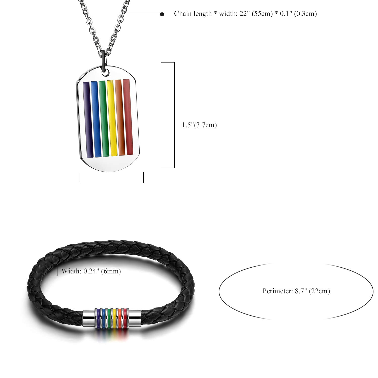 Rainbow Striped Necklace and Bracelet Set Stainless Steel Dog Tag Pendant Necklace and Handmade Magnet LGBT Pride Leather Bracelet for Unisex