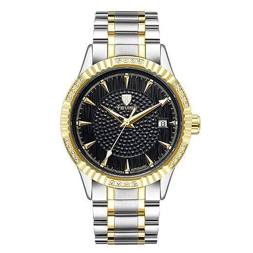Relojes Mecánicos Automáticos Negros del Dial de Los Hombres Relojes Automáticos del Calendario del Acero Inoxidable de Dos Tonos: Amazon.es: Relojes