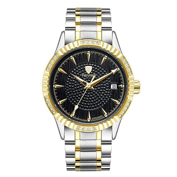 Relojes Mecánicos Automáticos Negros del Dial de Los Hombres Relojes Automáticos del Calendario del Acero Inoxidable