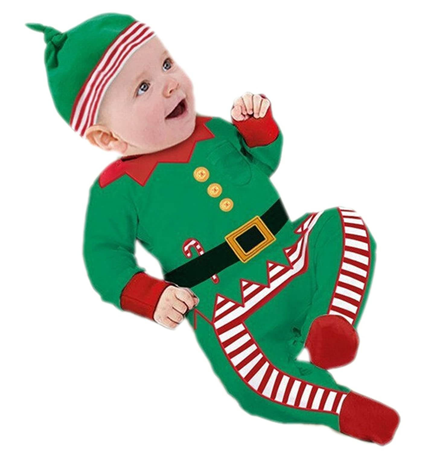 JJ GOGO Baby Boy Girl Rompers Christmas Lovely Clothes With Hat