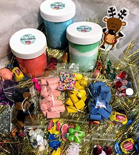 Blueberry Spray Activator Christmas SLIME GIFT SET Strawberry Butter Slime HANDMADE by Savv.Slimes Cloud Slime Java Chips Sprinkles Charms Foam Beads Jewels Glitter More