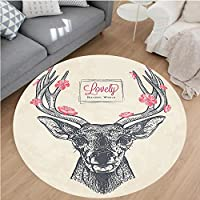 Nalahome Modern Flannel Microfiber Non-Slip Machine Washable Round Area Rug-ead with Flowers Blooms Lettering Lovely Natural World Background Pattern Gray Pink Ivory area rugs Home Decor-Round 51