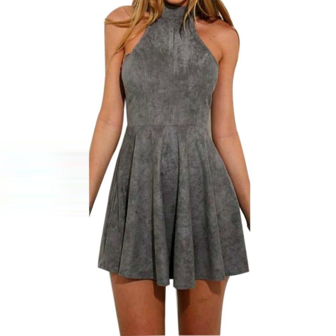 Hot Dress! AMA(TM) Women Summer Sexy Halter Sleeveless Evening Party Backless Hollow Out A-Line Dress (S, Gray) by AMA(TM) (Image #2)