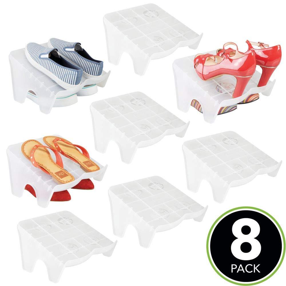 MetroDecor mDesign Set da 8 scarpiere con Il Tacco o Ballerine Scarpiera impilabile per Scarpe da Ginnastica Scarpiera salvaspazio Antiscivolo per Tutte Le Scarpe Trasparente