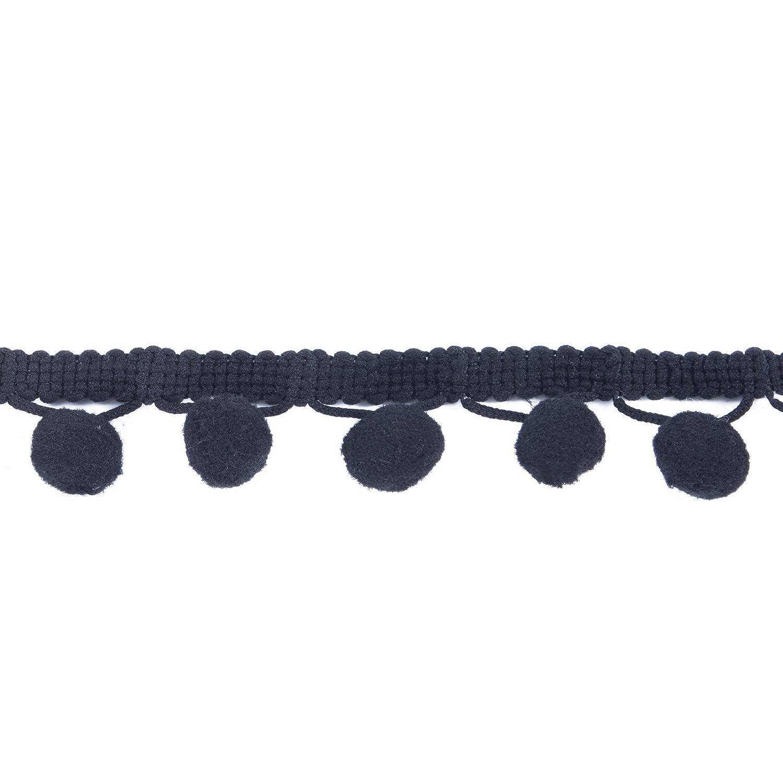 Ball Fringe 1-1/8\' Wide Pom Poms Ball Fringe Trim Ribbon Sewing (Black, 10 Yards) AWAYTR B06XHP5QGV1