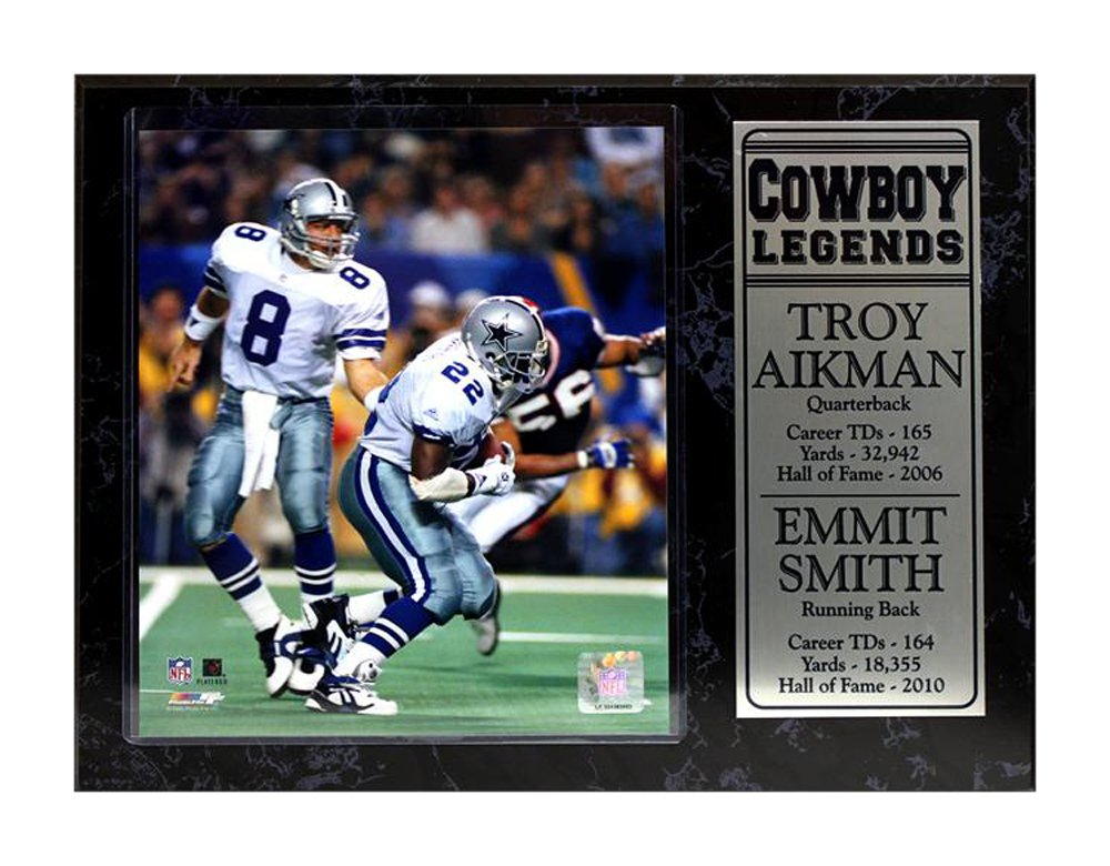 Encore Select 521-09 NFL Dallas Cowboys Legends Troy Aikman and Emmit Smith Stat Plaque with Photo 12-Inch by 15-Inch