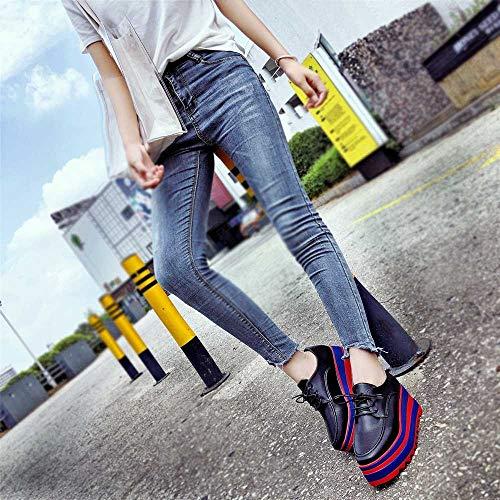 Alla La ASHOP Le e E Donna Scarpe Donna Suola Moda inverno Casual Alta Scarpe Tacco Nero Sport Autunno Scarpe Scarpe Con Aumentano Donne Le Le EqXxPx