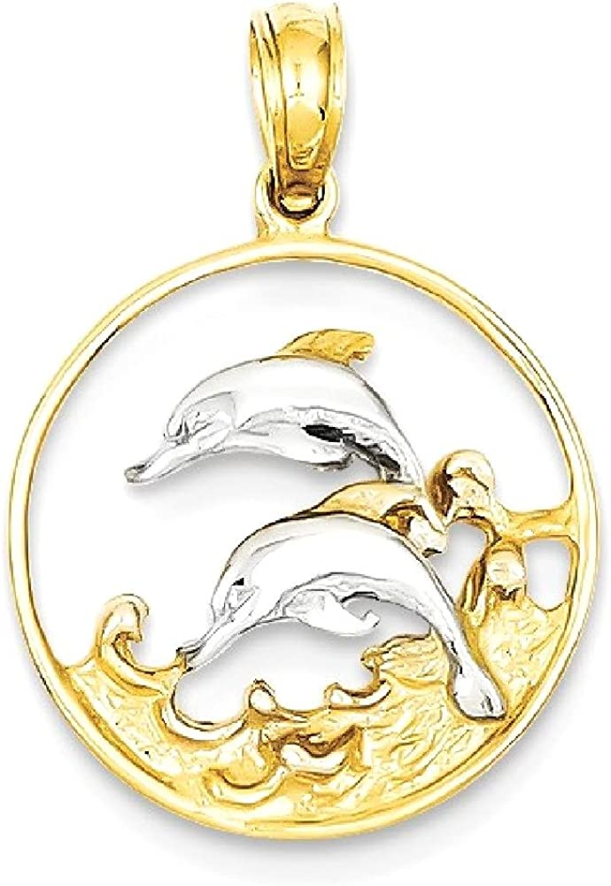 14k Yellow Gold Double Dolphins In Circle Pendant Charm Necklace Fish Sea Life Dolphin Fine Jewellery For Women Gifts For Her