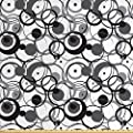 Ambesonne Abstract Fabric by The Yard, Monochrome Circles Dots Surreal Expressionism Inspired Geometric Modern Art, Decorative Fabric for Upholstery and Home Accents, 3 Yards, Grey Black White