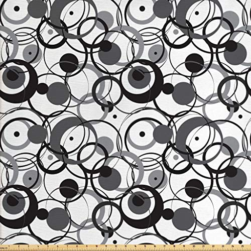 Ambesonne Abstract Fabric by The Yard, Monochrome Circles Dots Surreal Expressionism Inspired Geometric Modern Art, Decorative Fabric for Upholstery and Home Accents, 1 Yard, Grey Black White (Dot Valance Circle)