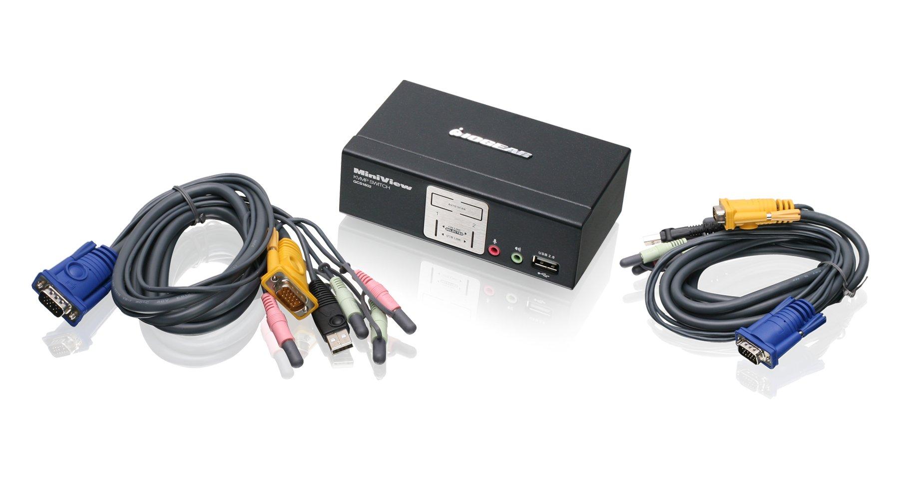 IOGEAR 2-Port KVMP Switch with USB 2.0 Hub and Audio, GCS1802