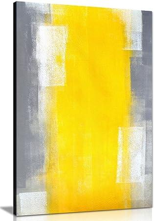 Tableau Abstrait Impression Peinture Sur Toile Grise Et Jaune Gris
