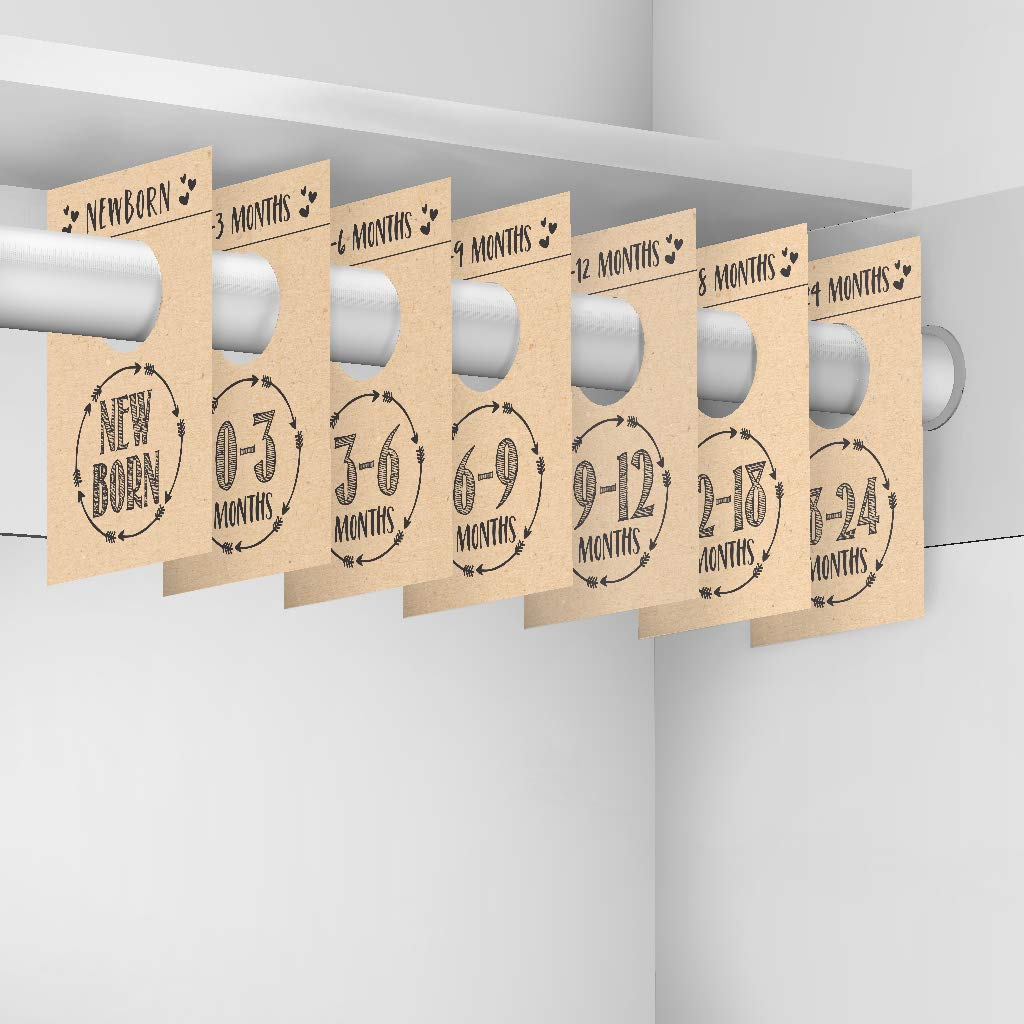 Toddler Age Size Hanger Organization For Kid 7 Rustic Baby Nursery Closet Organizer Dividers For Girls or Boys Clothing 0-24 Months Infant Shower Registry Gift Supplies Newborn Clothes Must Have