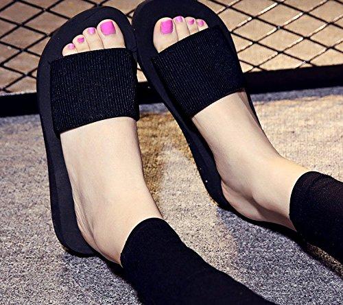 Sfnld Kvinna Trendig Sommarglid Tofflor Plattform Kilklack Strand Sandaler Svart