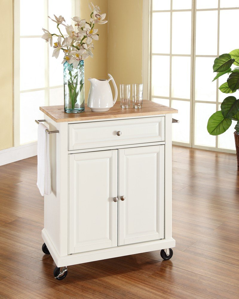 Amazon Com Crosley Furniture Cuisine Kitchen Island With Natural Wood Top White Kitchen Dining
