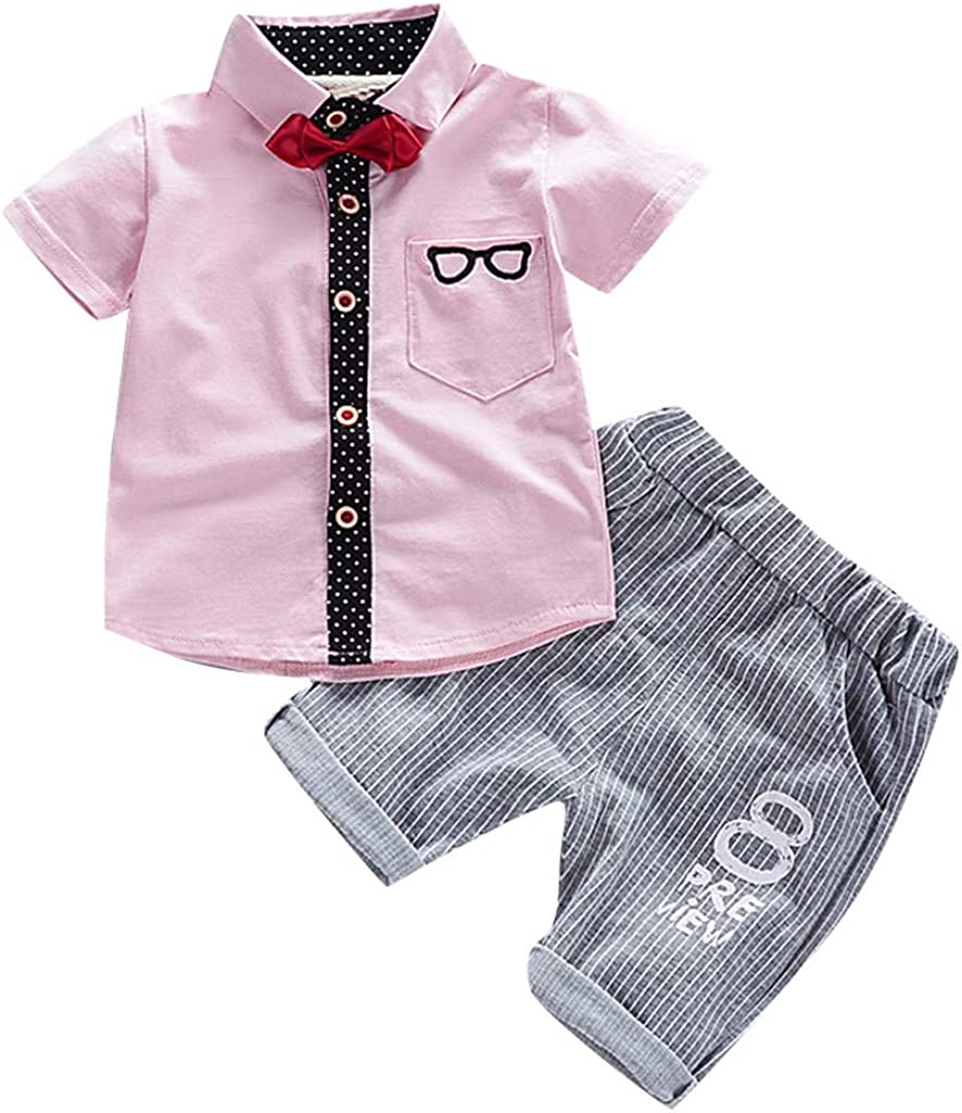 Striped Pants Clothes Baby Boys Gentleman Outfits Infant Short Sleeve Bowtie Sunglass Print Shirts Tops