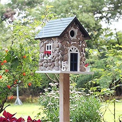 Casa de Madera para pájaros Alimentador de pájaros de madera al aire libre vertical Patio inglés Jardín Cabañas Casa de pájaros for cabaña de pájaros pequeña Casa de pájaros Decoración creativa Casa