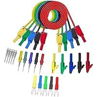 Testkablar Banankontakt Cable 4mm P1050B Dubbel avslutas med Needle Probes Alligator Clip U-typ för multimeter Gauge