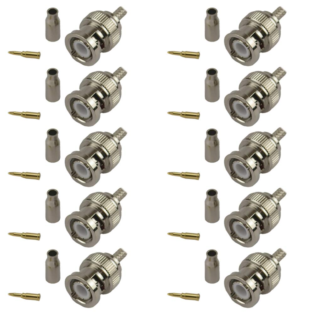 Pack of 10 BNC Male Crimp Connector - RG316/RG174 Wifi-Antennas