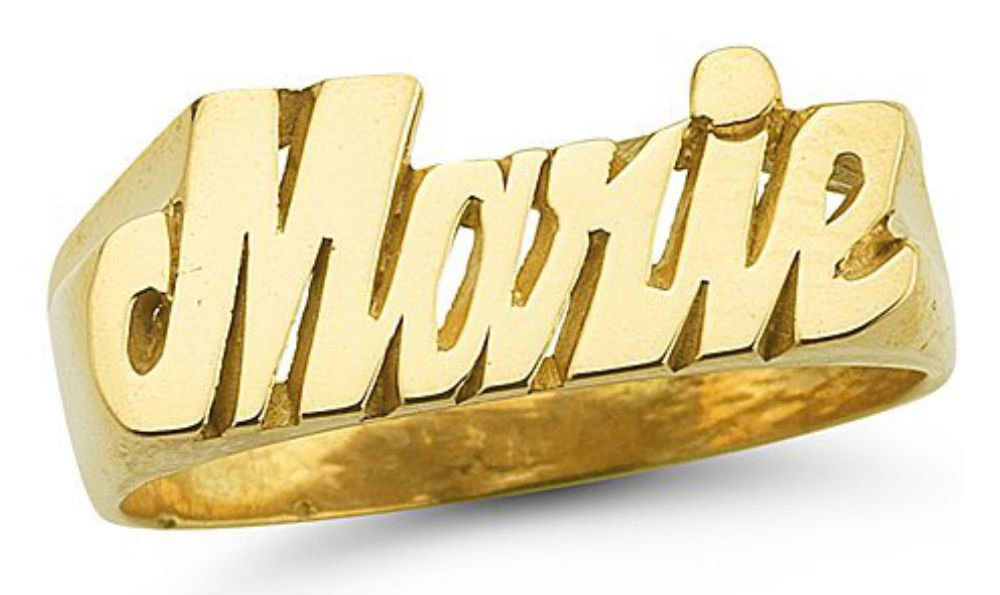 Personalized Name Ring - Unisex Script Style 7mm 14K Yellow or 14K 14K White Gold