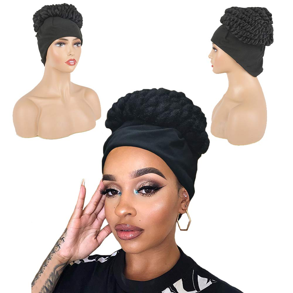 Amazon Com Aisaide Afro Curly Wigs For Black Women Synthetic Headband Wig High Updo Black Wig With Headband Attached Twist Crochet Braided Wigs Wrap Wig 2 In 1 Headwrap Wig With Turban Beauty