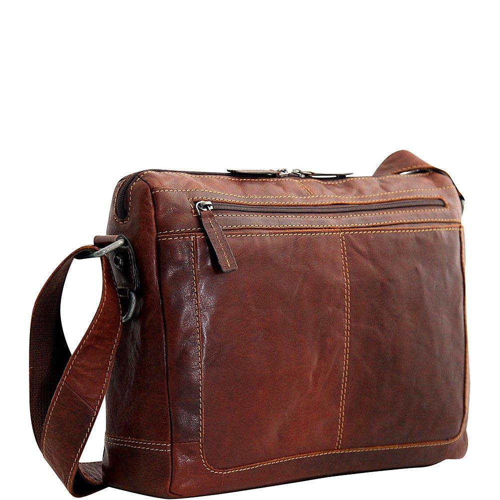 Jack Georges Voyager Zip Top Leather Laptop Messenger Bag