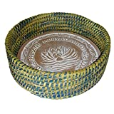 Warming Bread Basket with Lotus Warmer Tile Stone Hand Woven For Rolls Appetizers 12 In W (River City Blue and Green Teal)