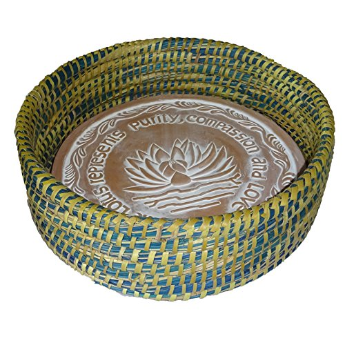 Warming Bread Basket Lotus Warmer Tile Stone Hand Woven for Rolls Appetizers 12 in W (River City Blue and Green - Bread Blue Baskets