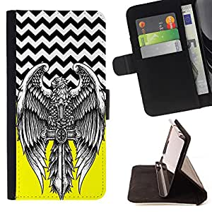 - Skull Tattoo Partterned - - Premium PU Leather Wallet Case with Card Slots, Cash Compartment and Detachable Wrist Strap FOR HTC Desire D816 816 d816t King case