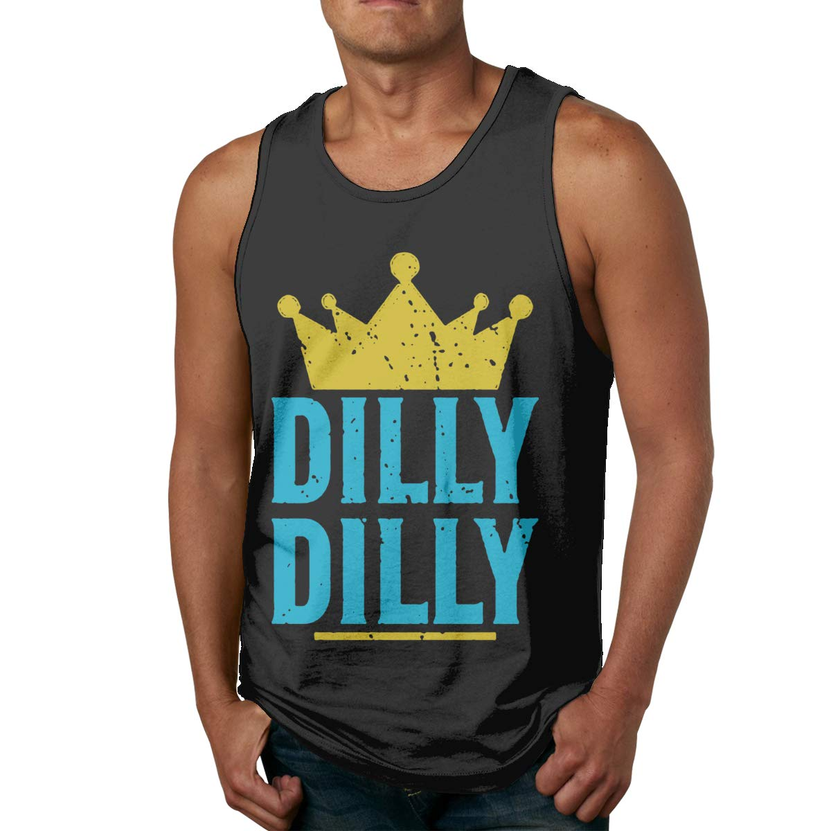 FKAHQ Dilly Dilly Crown Artwork Men Printed Vest Sports Tank-Top T Shirt Leisure Sleeveless T-Shirt