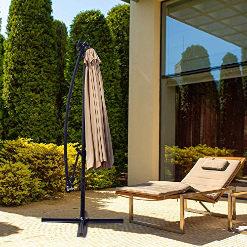 OUTDOOR DIAMOND 10ft Solar Umbrella 8 LED Strip Lights Patio Offset HangingUmbrella CantileverTable Market Umbrella w/Tilt Crank for Backyard Garden Poolside Lawn Beach Pool (Beige)
