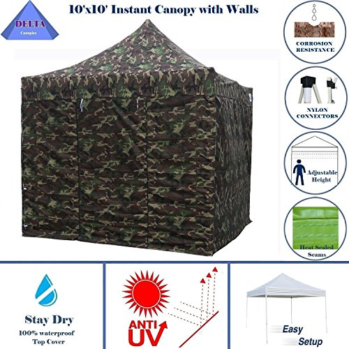 Delta 10'x10' Ez Pop up Canopy Party Tent Instant Gazebo 100% Waterproof Top with 4 Removable Camouflage - E Model By (Camouflage Canopy)