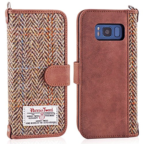 Galaxy S8 Folio Wallet Case, MONOJOY Harris Tweed [Pure Scottish Wool] Premium Handmade Galaxy S8 Card Case Protective Flip Cover with Card Slot + Side Pocket Magnetic Closure (Tweed Pure Wool)
