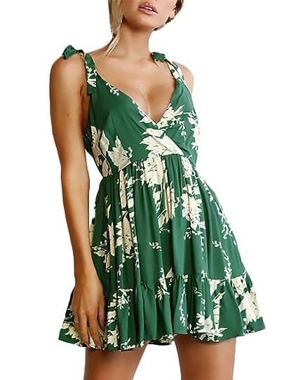 Vestidos Verano Mujer Elegante Verano Tirantes V Cuello Espalda Abierta Niñas Ropa Corto Vestido Playa Moda