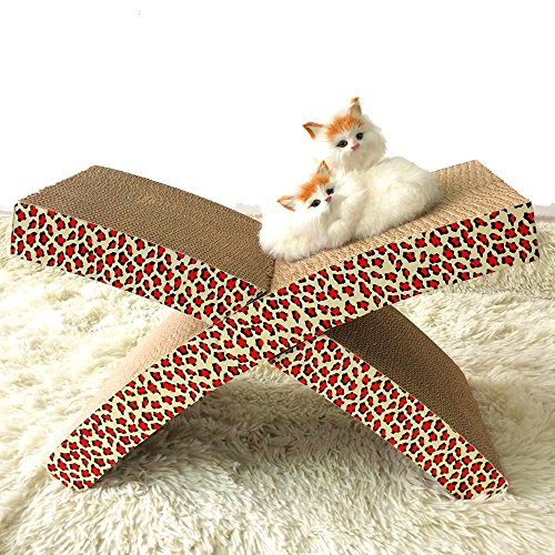 Geekercity Premium Luxury Soothing X Shaped Cat Scratcher Lounge Bed Reversible Corrugated Pet Kitty Cat Scratching Pad Catch Board Mat [Cat Easy Life Hammock and Scratcher]
