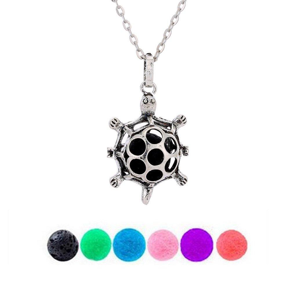 GraceAngie Cute Tortoise Aromatherapy Essential Oil Diffuser Locket Necklace Pendant with 1 Lava Stone & 5 Pompon Balls CJ420-A