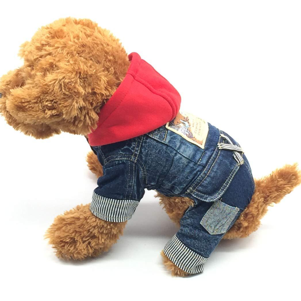 M SENERY Winter Pet Dog Clothing,Cat Jean Costume Warm Clothes Coat Cowboy Jacket Four Leg Clothing