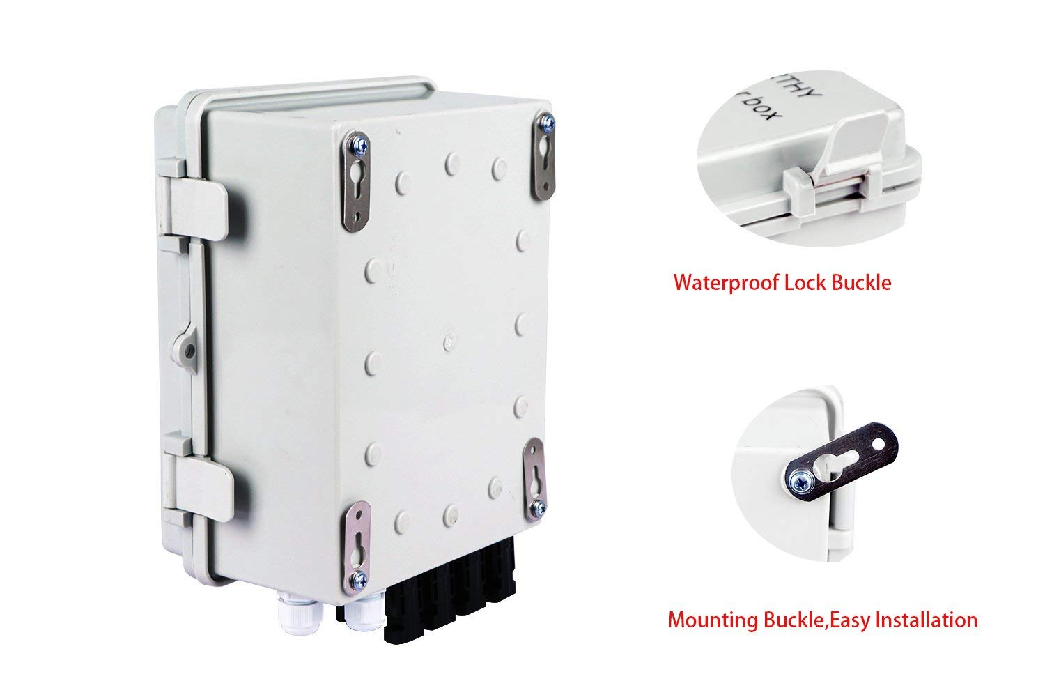 ECO-WORTHY 4 String PV Combiner Joint Box 10A Circuit Breakers for On//Off Grid Solar Panel System
