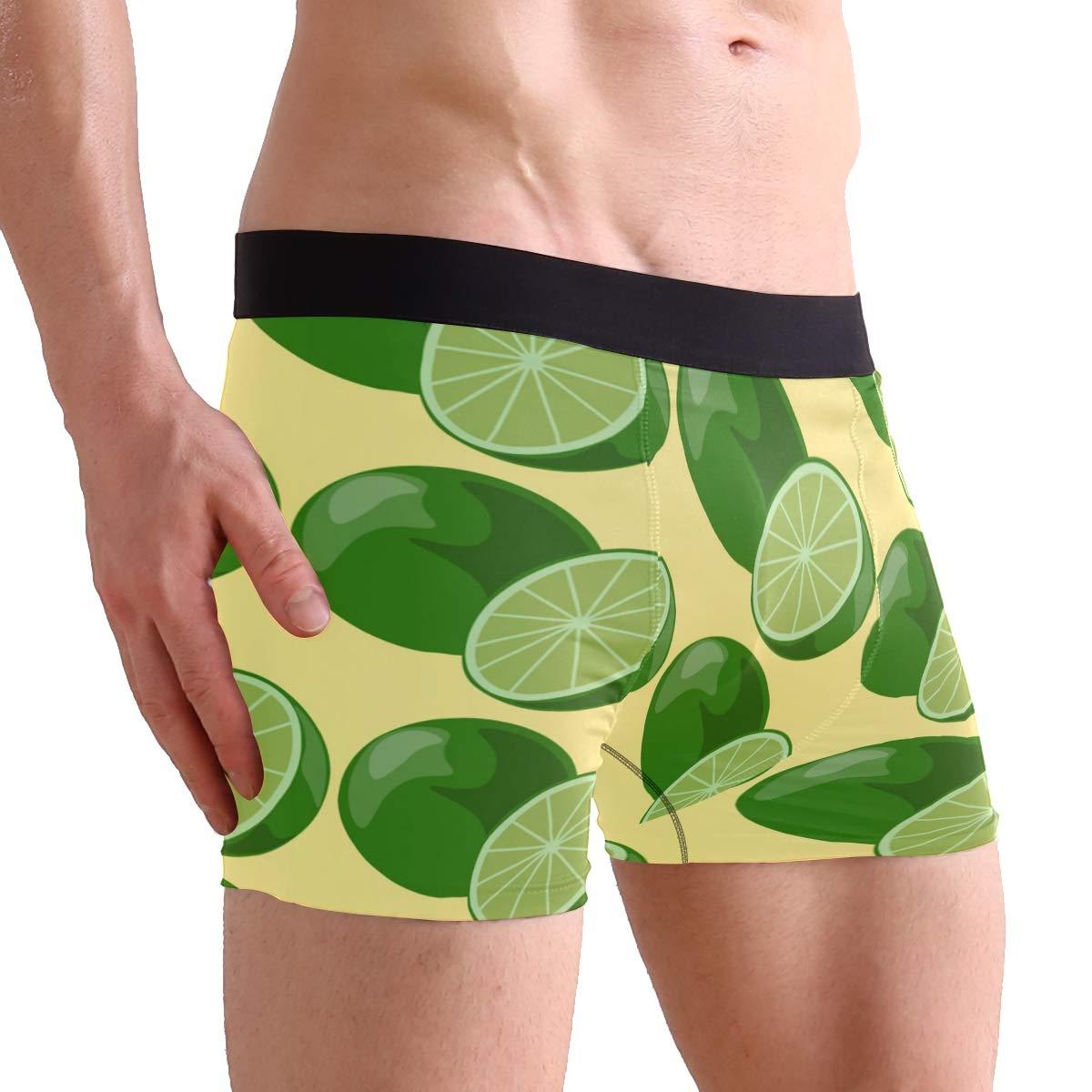 Hipster Unique Lime Sketch Limes Citrus GreenBoxer Briefs Mens Underwear Boys Breathable Stretch Low Rise