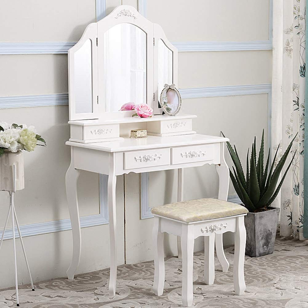 Dressing Tables,4 Drawer with Tri-folding Mirror Jewelry Wood Desk Dressing Table Set White Vanity Makeup Table and Stool Set Dressing Desk with Cushioned Stool for Home Bedroom Bathroom,84/×56/×29.5cm