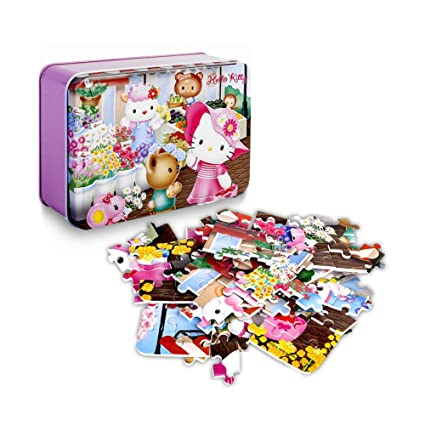 c0ad1bae1 100 Piece Hello Kitty Puzzle - Cute Hello Kitty Jigsaw PVC Puzzle Flats  Toys For Kid