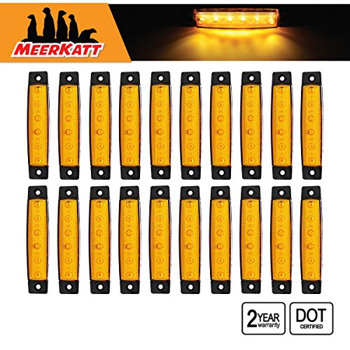 (Meerkatt (Pack of 20) 3/8 Inch Amber 6 LED SMD Extra Bright Indicators Side Clearance Marker Light Rear Tail Turn Signal Truck Bus Trailer Car SUV Boat Lorry Caravan Sedan Camper RV 12v DC Model TK12)