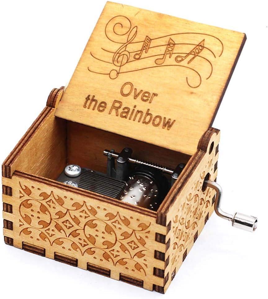 Pursuestar Wood Hand Crank Engraved Vintage Wooden Music Box Wedding Valentine Christmas Birthday Gift - Over The Rainbow