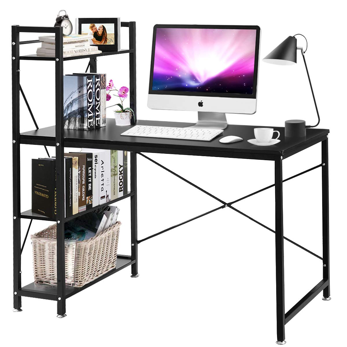 Tangkula 47.5 Computer Desk, Modern Style Writing Study Table with 4 Tier Bookshelves, Home Office Desk, Compact Gaming Desk, Multipurpose PC Workstation Black