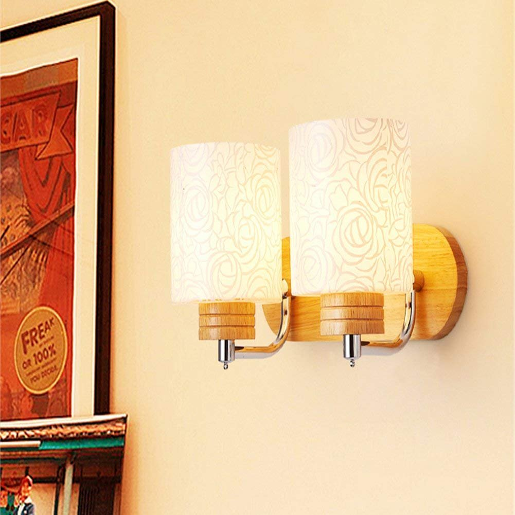 JiFengCheng Wood Wall lamp Bedroom Bedside Lamp E27 Modern Wall Sconce Bedroom Wall Lighting Contemporary lamp Wall HGSS-004-2 by JiFengCheng (Image #3)