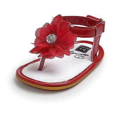 Sandales Bébé, Rawdah Enfant Flower Pearl Sandals Enfant Princess First Walkers Kid Chaussures Pour BéBé 0 ~ 18 Mois (Rouge, 6~12 Mois)
