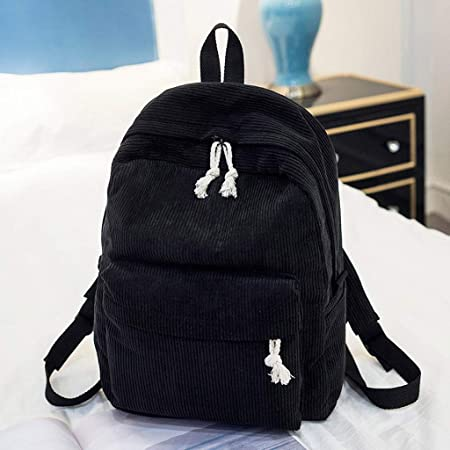 Black,11.02 H L x4.72 W Lazzboy Bag Women Girls Vintage Corduroy Soft Backpacks Solid Plain Student Bags Striped School Daypack x15.75.0