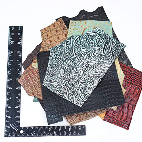 Springfield Leather Company's Printed and Embossed Leather Scraps (10pk of medium sized rough cuts)
