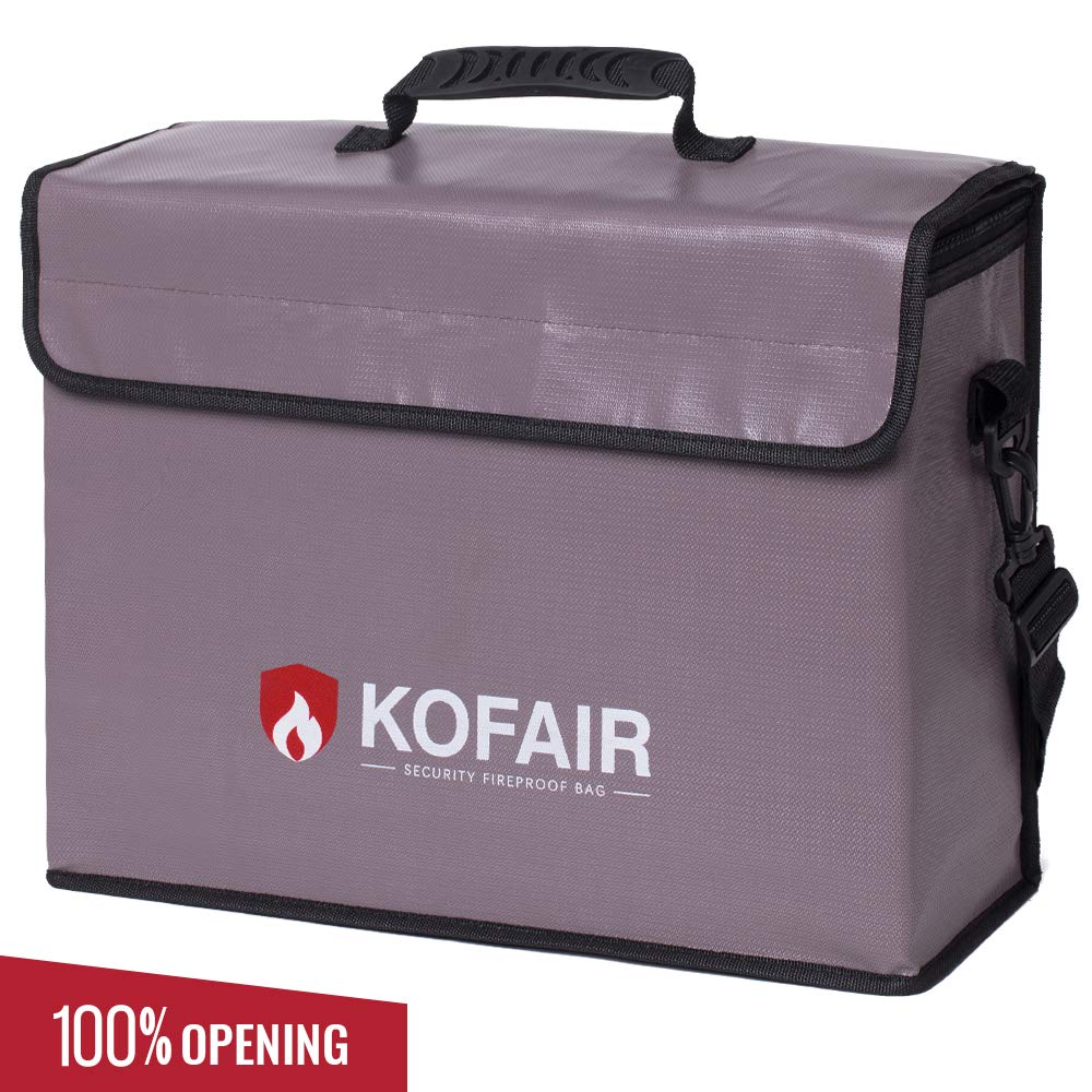 Kofair Large Fireproof Bag (16 x 12 x 5.5 inches), XL Fireproof Document Bags with 100% Opening & Soft Handle, Non-Itchy Fireproof Safe and Water Resistant Bag for Money, Legal Documents, Valuables by Kofair
